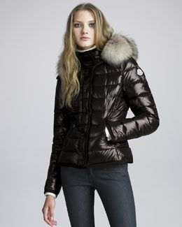 6e12c33a7 Moncler Short Coyote-Trim Lacquered Puffer Coat