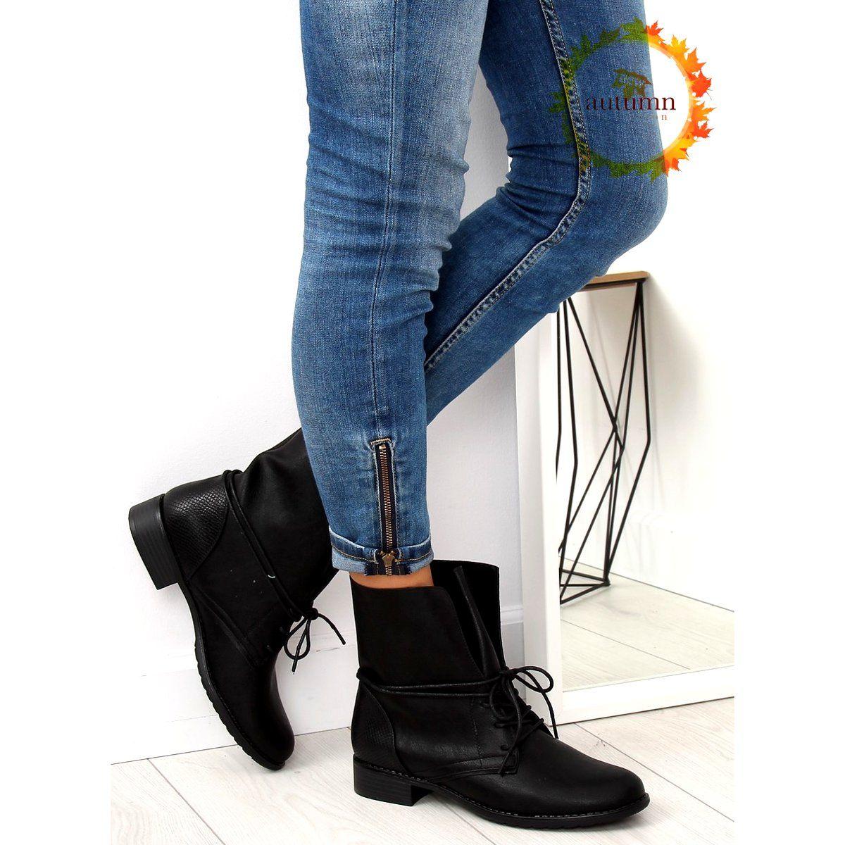 Botki Damskie Butymodne Botki Workery Czarne 16006 53a Black Skinny Jeans Fashion Boots