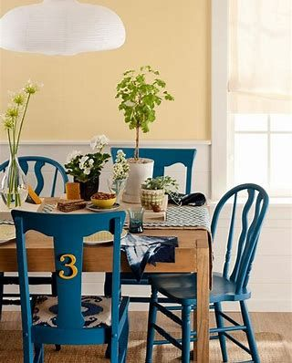 Image Result For Round Dining Tables With Mismatched Chairs Images Painted Chairs Dining Room
