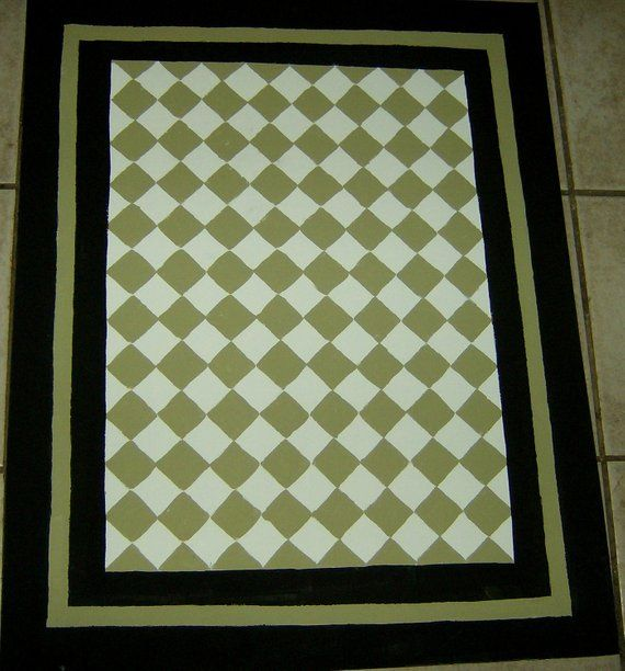 Sage Green And Black Floorcloth French Country Painted