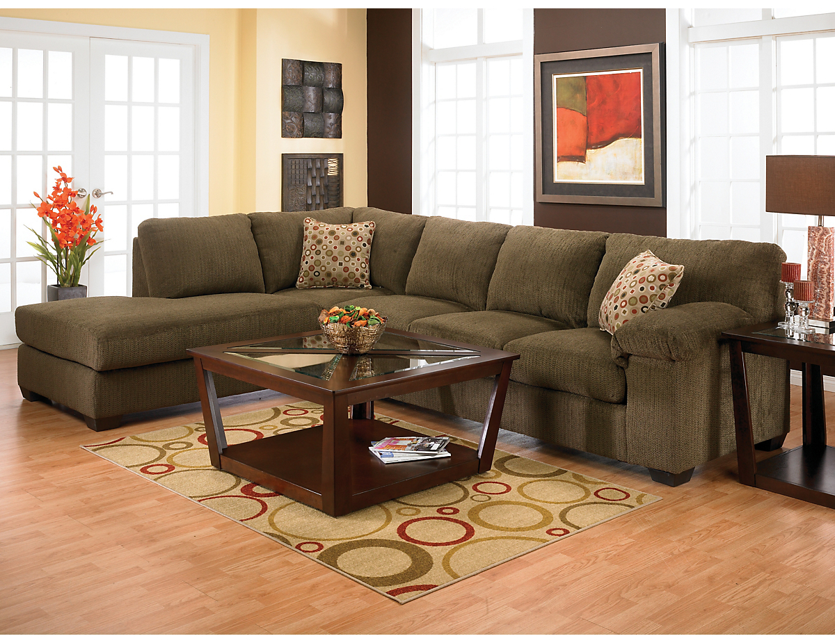 Morty Chenille Sectional with Left Chaise in Brown ...