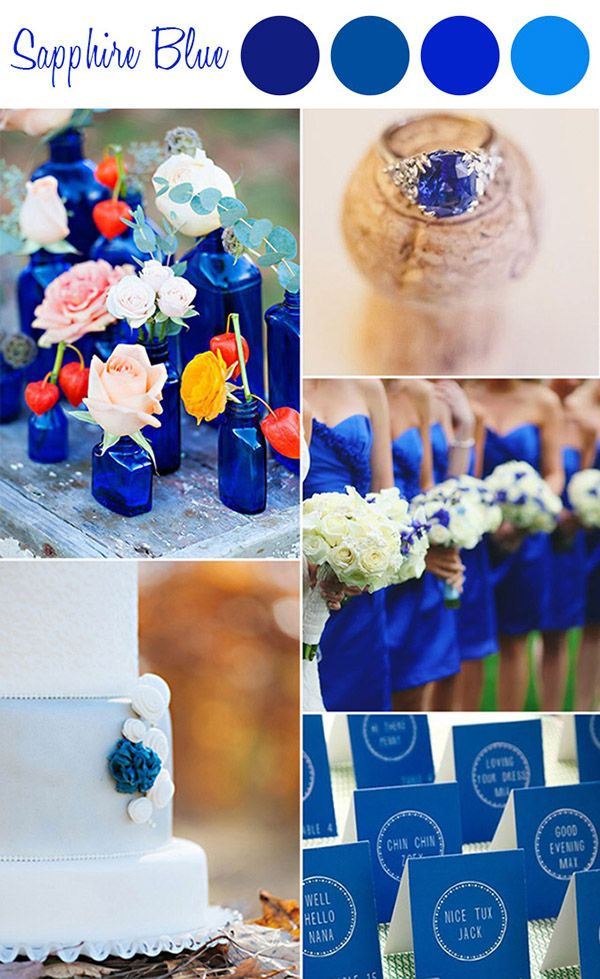 6 Perfect Shades Of Blue Wedding Color Ideas And Wedding Invitations Elegantweddinginvites Com Blog Sapphire Blue Weddings Wedding Colors Blue Wedding Theme Colors