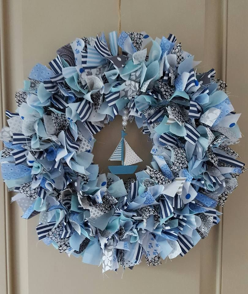 Hand crafted Nautical/Seaside rag wreath with wood boat centre piece | eBay