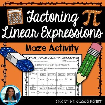 Factoring Linear Expressions Maze | Math expressions ...