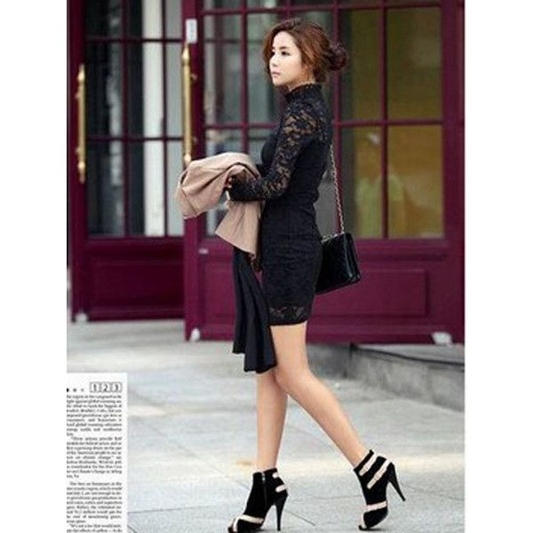 cheap fashion korean style stangding collar lace clubwear cocktail... via Polyvore