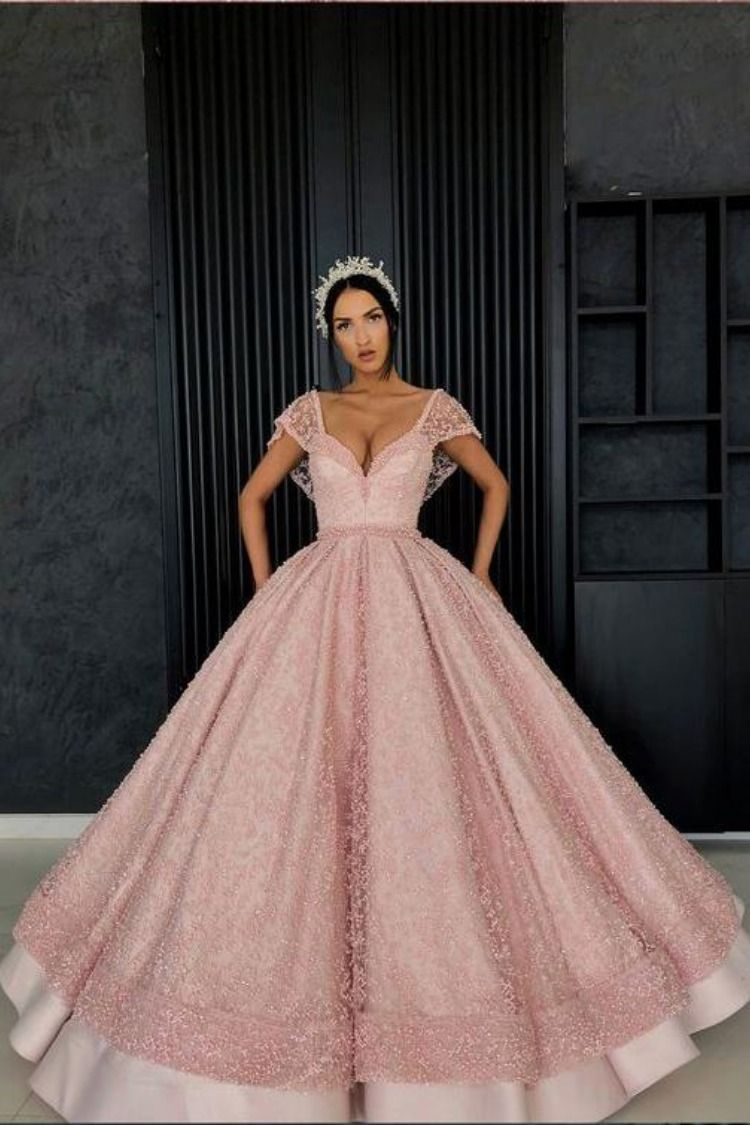 Chic Ball Gown Straps Pink Cap Sleeve Sparkly V Neck Beads Quinceanera  Dress with Pockets PW228 ad685e491824