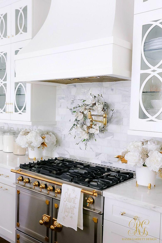 White and Gold Christmas Kitchen - Randi Garrett Design