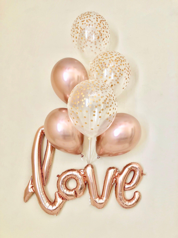 Liebe Roségold Skript Ballon ~ Chrom Roségold Luftballons ~ Hochzeitsdusche Dekor ~ Gold Konfetti Ballon ~ Brautdusche ~ Verlobungsfeier ~ Roségold