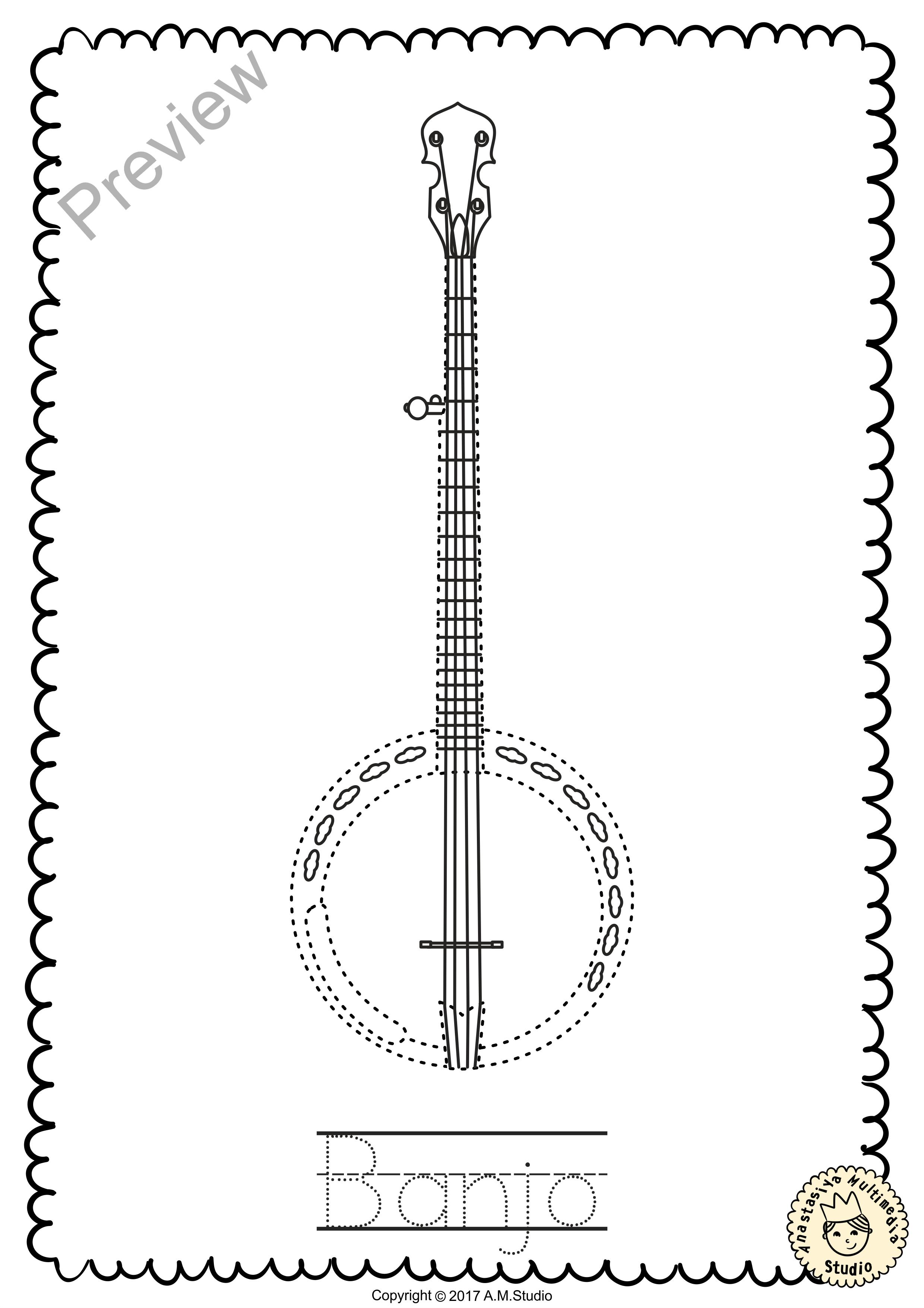 Banjo Worksheet Education Com Coloring Pages Music Coloring Banjo