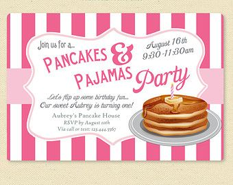 Items similar to pancakes and pajamas birthday party invite items similar to pancakes and pajamas birthday party invite printable breakfast invitation pink filmwisefo Gallery