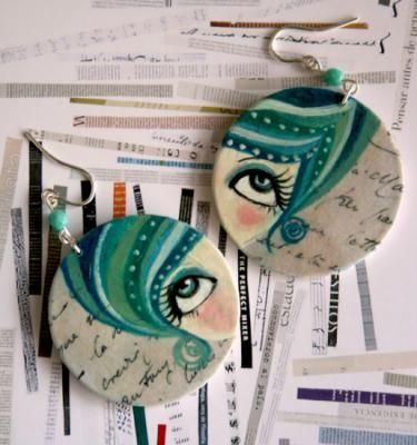 Amparo Pendientes Madera Pintados A Mano Papel Plata De Ley Pintado Al Oleo Pendientes Bisuteria Pendien Paper Jewelry Paper Earrings Hand Painted Jewelry