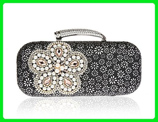 Womens Pearl Bead Wedding Evening Party Clutch Handbag Purse with Chain  (Pure Black) - Evening bags ( Amazon Partner-Link) 04eaeb0daef1