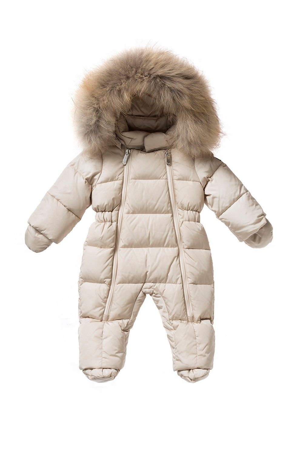 Italian Luxury DOWN-FILLED SNOWSUIT WITH FUR IN BEIGE AND SAND  f7b277f4537e