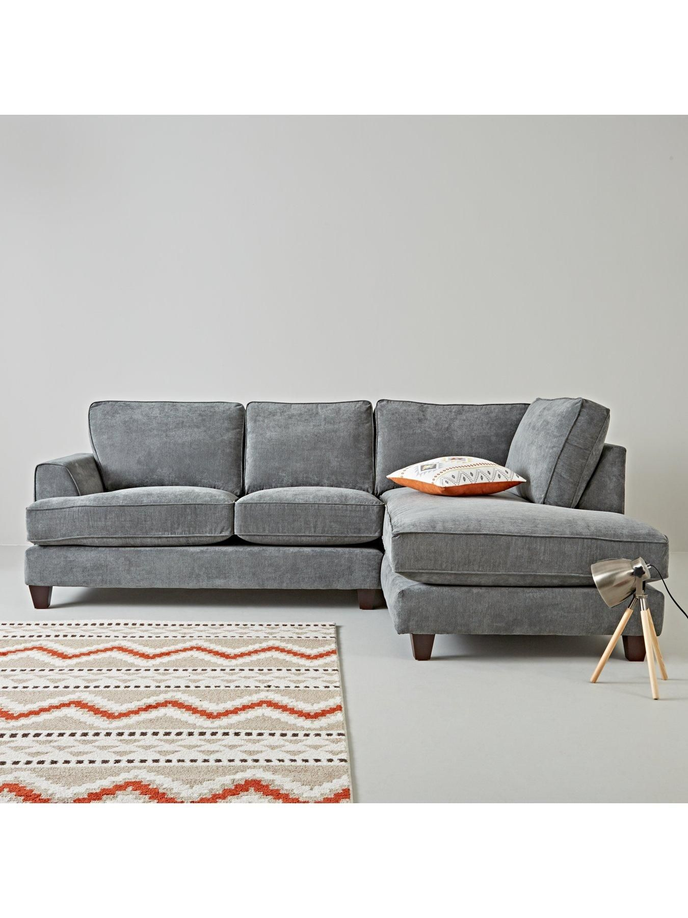 Cavendish New Camden Right Hand Fabric Corner Chaise Sofa In Blush Pink Charcoal