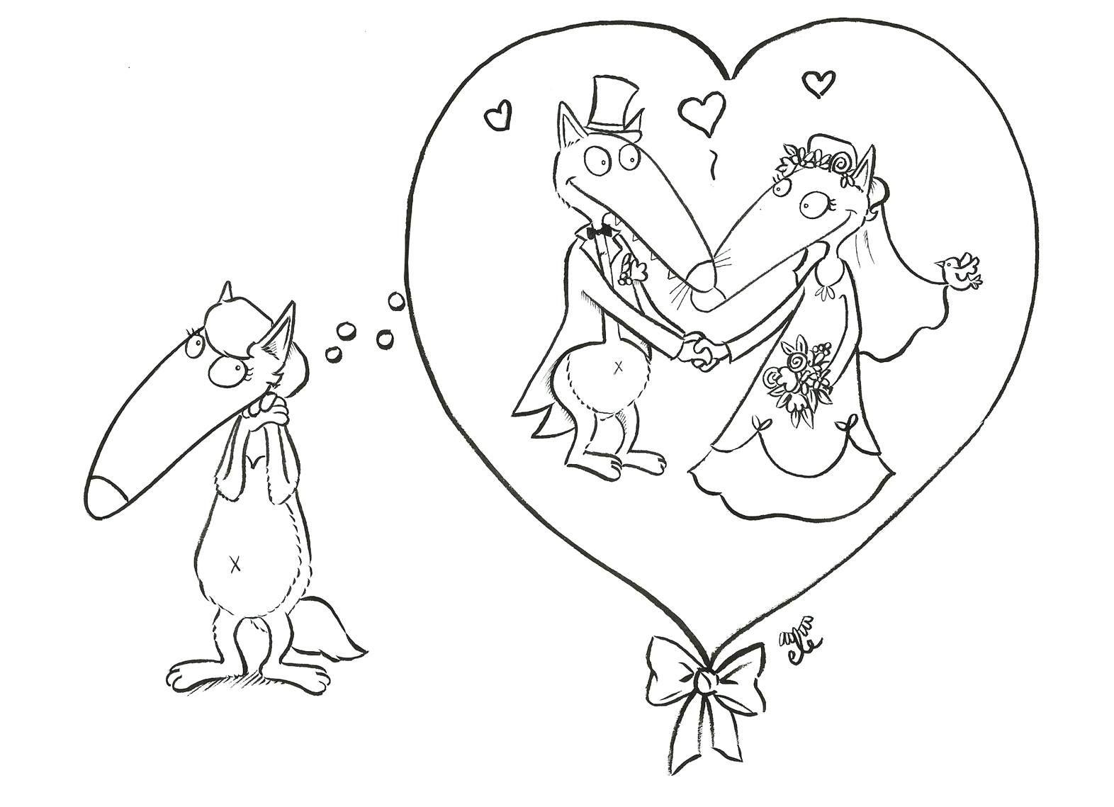 coloriage Bientôt la Saint-Valentin, Louve rêve un peu