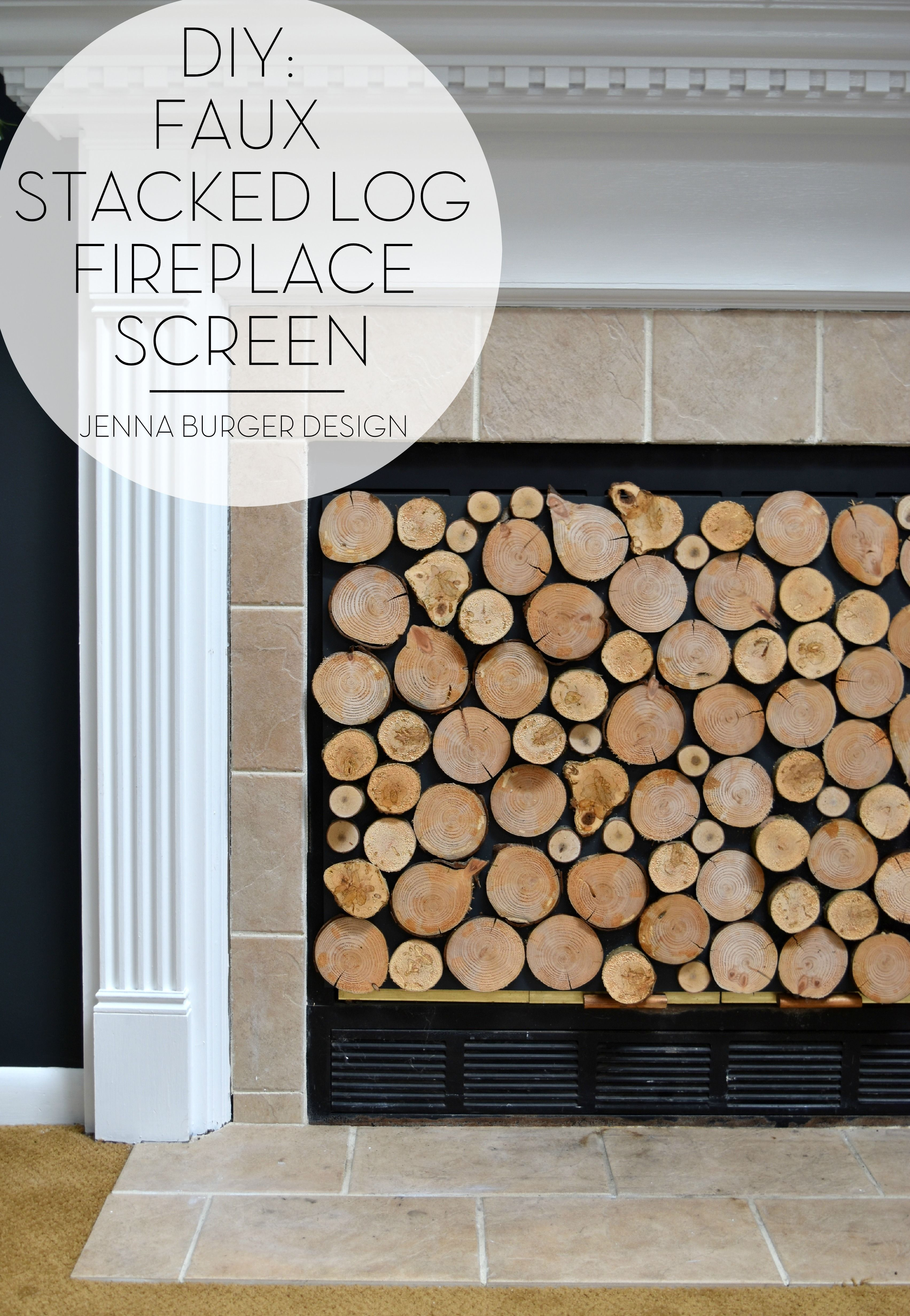 wooden fireplace screen. DIY  Tutorial on how to make a FAUX STACKED LOG FIREPLACE SCREEN check out