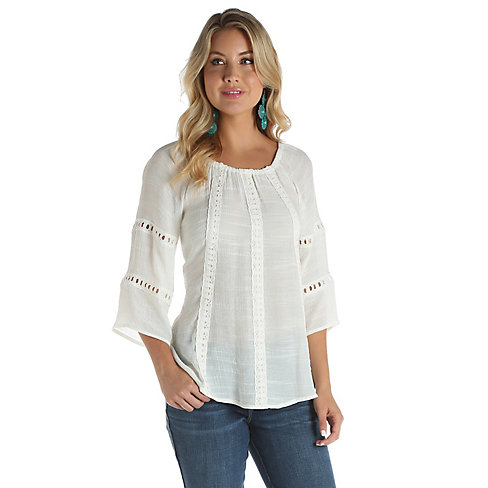 e63036a3d43e7d Wrangler LW6214N. White Off The Shoulder Top.