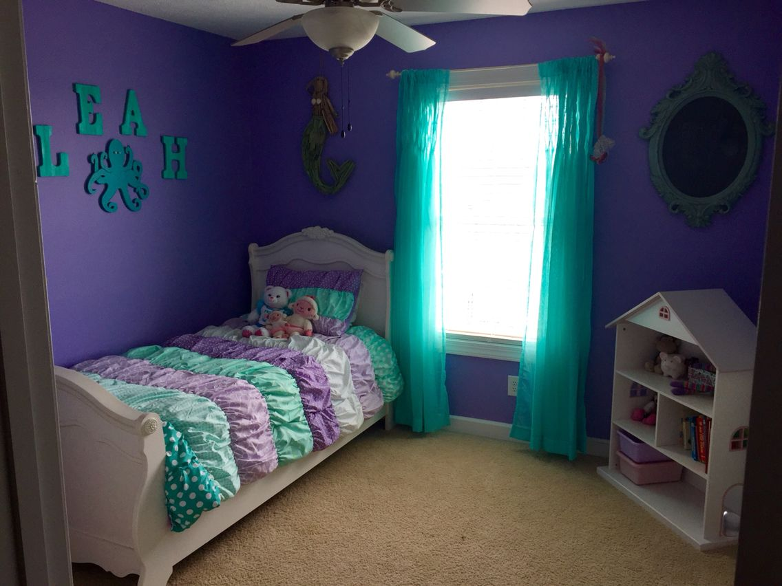Purple and teal mermaid room leah pinterest mermaid for Bedroom ideas with teal walls