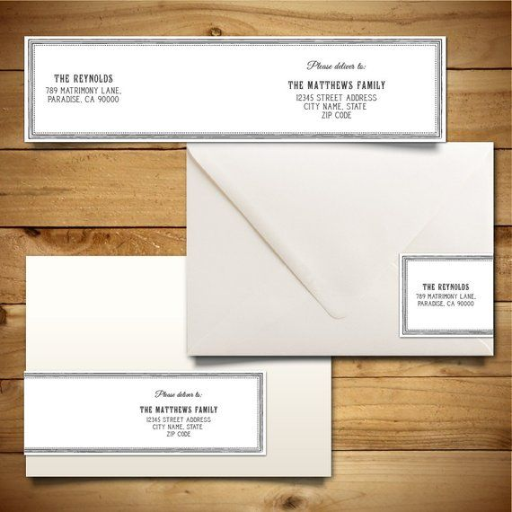 Envelope Label Template | Printable Wrap Around Address Label Template For A7 Envelopes Grey