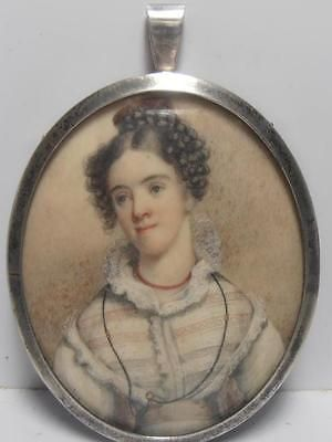 1820's PORTRAIT MINIATURE of PRETTY YOUNG LADY Mary Twist at 19 yrs SILVER FRAME