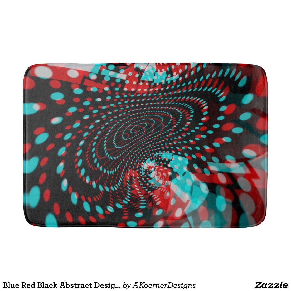 Blue Red Black Abstract Design Bath Mat