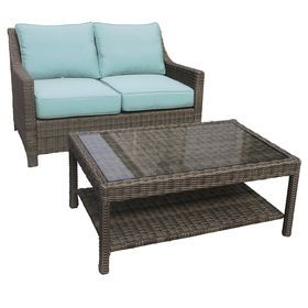 Laguna 2 Piece Wicker Settee And Coffee Table Set