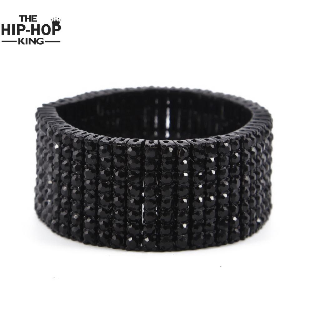Hip hop row goldsilverblack crystal iced out bling bracelet