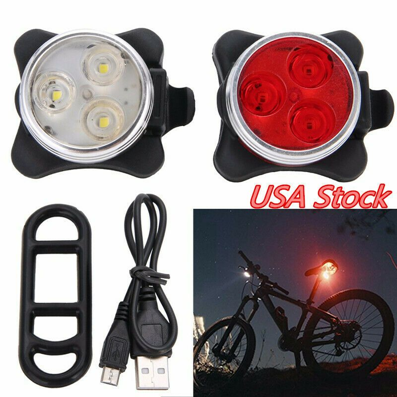 USB Rechargeable LED Bicycle Bike Front Rear Tail Light Safety Warning Lamp USA