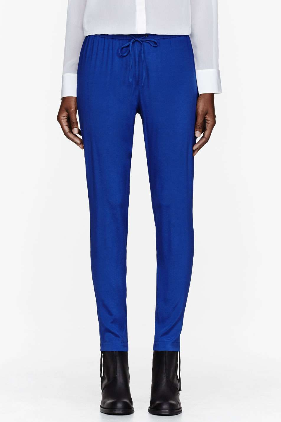 Rag And Bone Royal blue silk Easier trousers