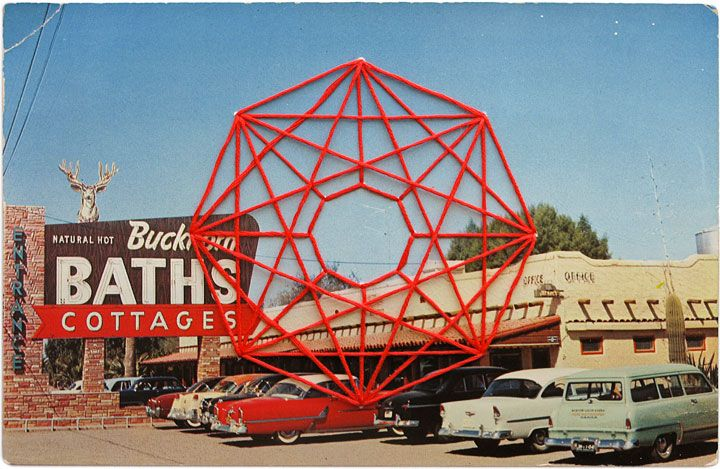 the art of Shaun Kardinal. embroidery floss in geometric designs on vintage postcards. yessum.