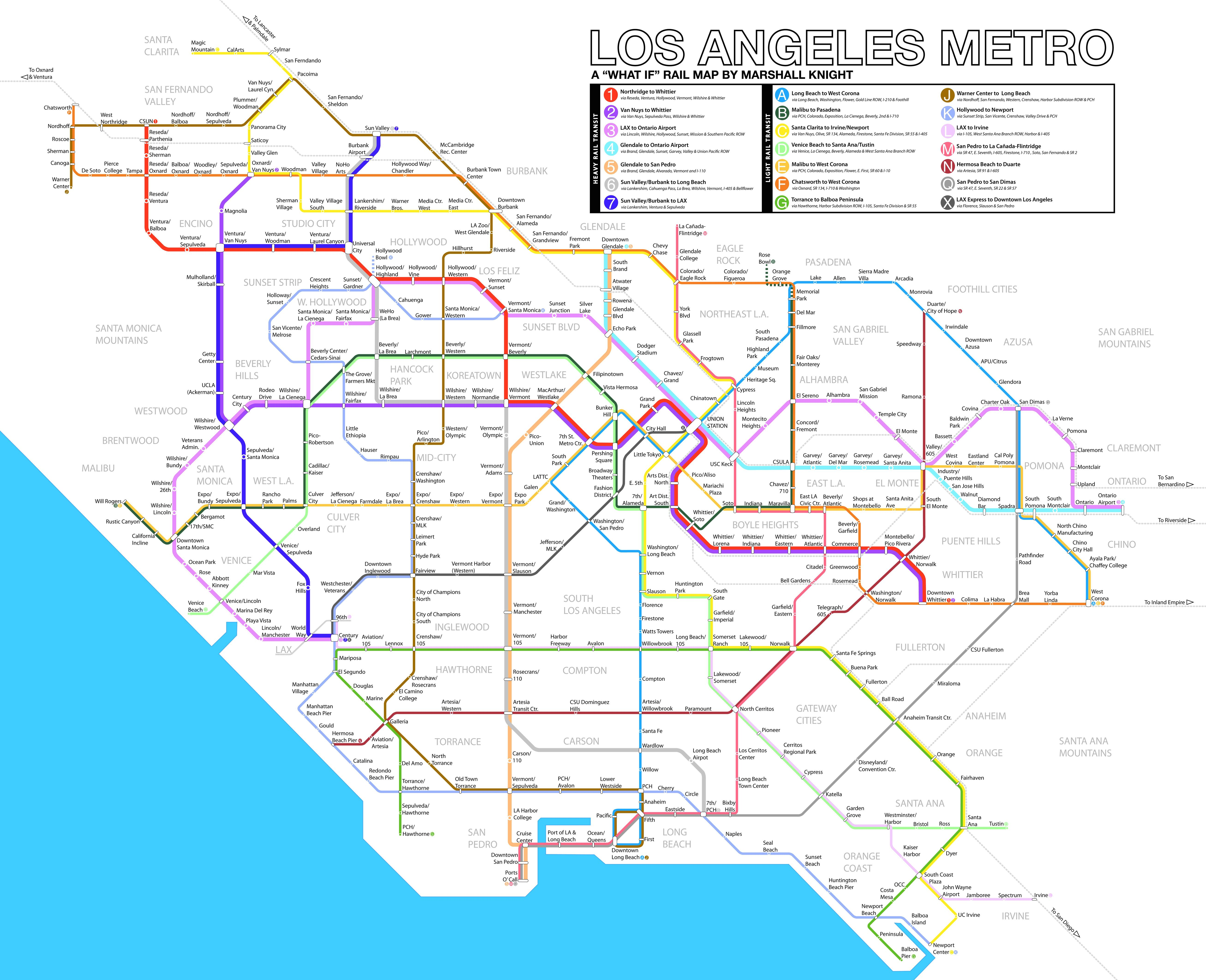 Los Angeles What If Metro Rail Map UPDATED With Feedback By - Los angeles metro expansion map