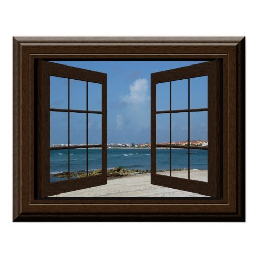 Faux Window Tranquil Beach Scene Relaxing View Poster is part of Home Accessories Design Window - Faux window overlooking a Mexican beach  For more faux window decor visit the rest of this shop