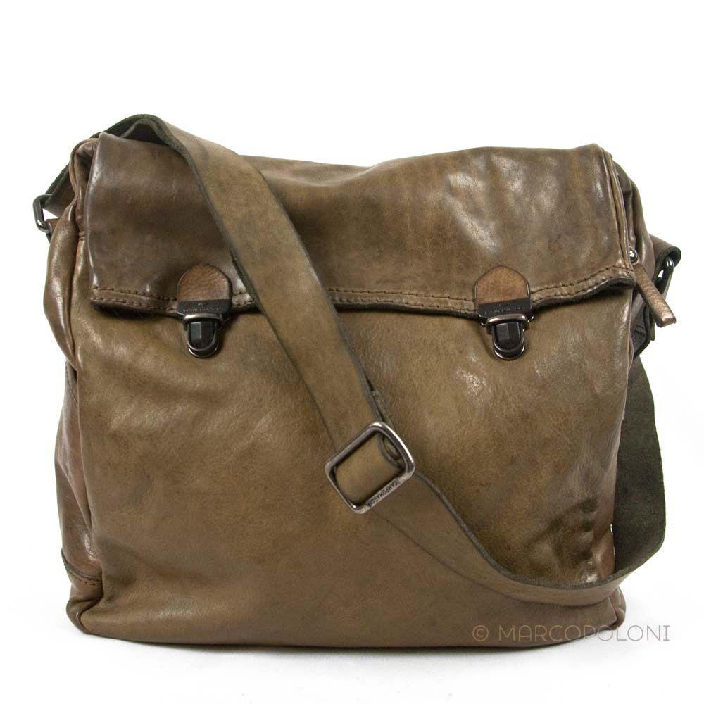 Geranio Large Leather Messenger Bag