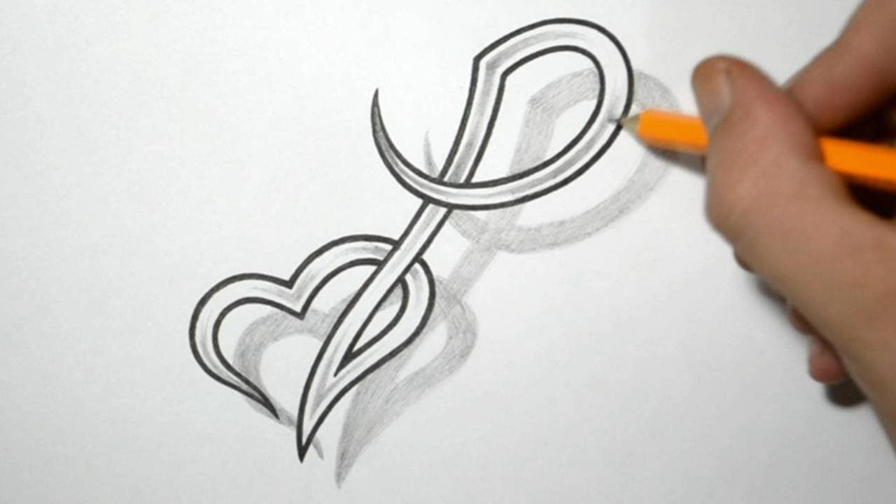 Designing Letter P and Heart Combined - Tattoo Design ...