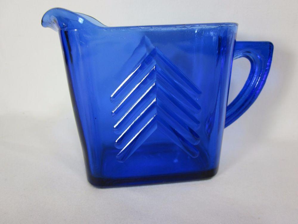 Cobalt Blue Hazel Atlas Glass Chevron Creamer jug Vintage