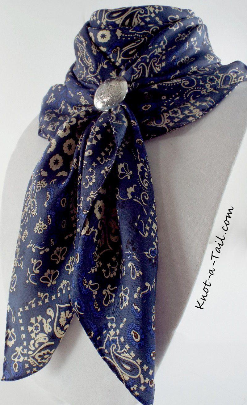 Wild Rag VINTAGE Navy BLUE Silk Scarf Wild Rag 36