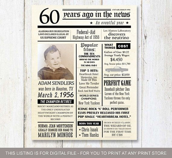 Fun facts 1958 60th birthday poster Custom 60th Birthday Gift
