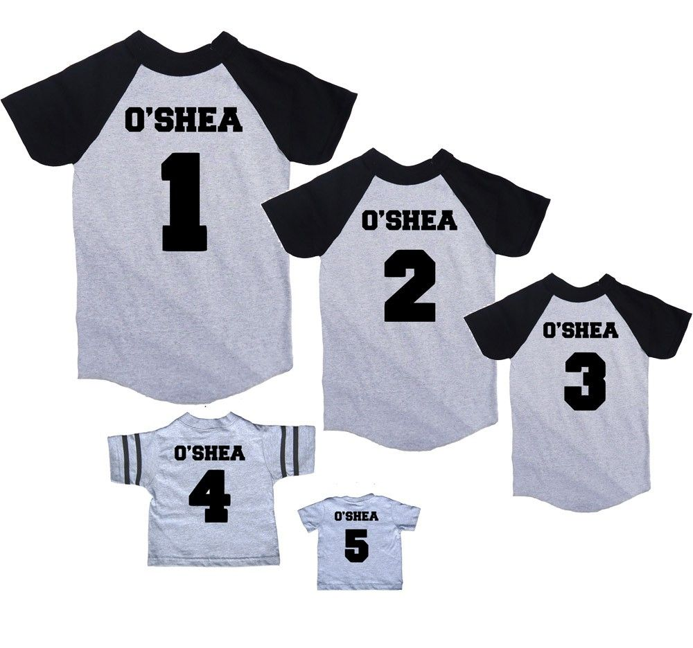 personalize these cool baseball tees and t shirts with your familys last name and choose numbers for everyone in the family description from i searched - Baseball T Shirt Designs Ideas
