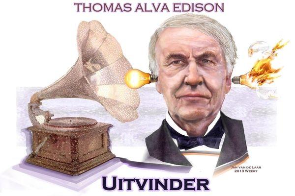 Edisonuitvindergloeilampwoordspelingen Karikatuur