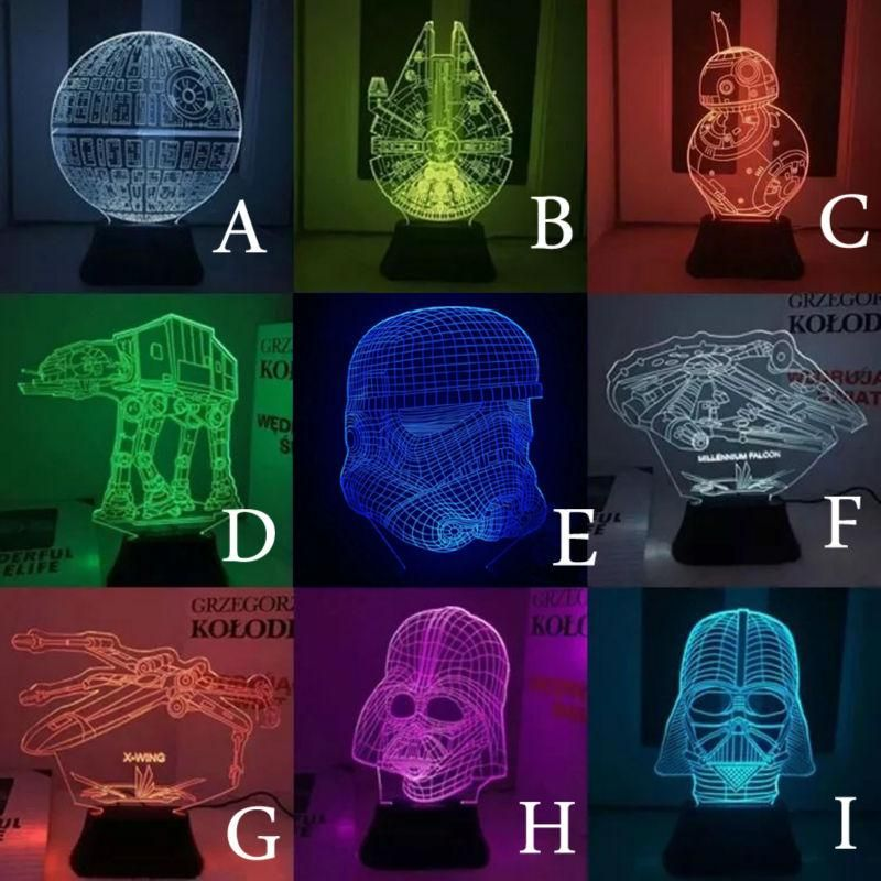 3d Effect Star Wars Night Lamp Night Light Led Night Light Mood Lamps