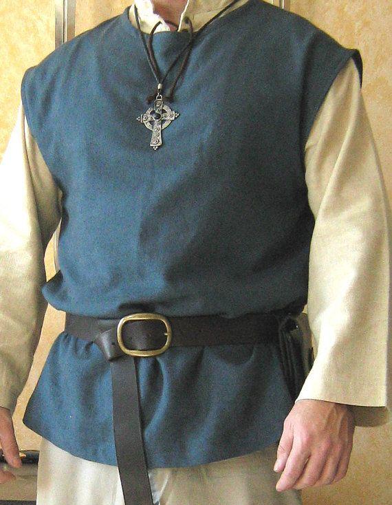 Medieval Celtic Viking Clothing  Costumes Without Sleeveless Shirt Tunic Yellow