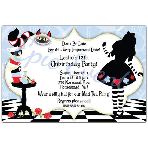 Alice In Wonderland Mad Hatter Cards Birthday Party Sweet 16 Invites