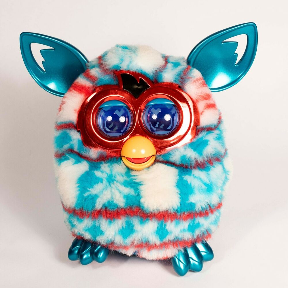 Hasbro Furby Boom Festive Sweater Edition 2012 Metallic Red Turquoise White Furby Furby Boom Red Turquoise