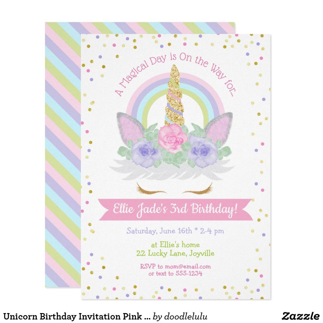 Unicorn Birthday Invitation Pink & Purple Rainbow Zazzle