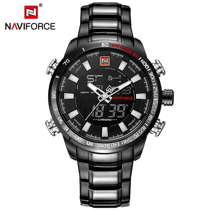 b68d291e737 NAVIFORCE Luxury Brand Men Military Sport Watches Men s Digital Quartz  Clock Full Steel Waterproof Wrist Watch relogio masculino Price  44.00    FREE ...
