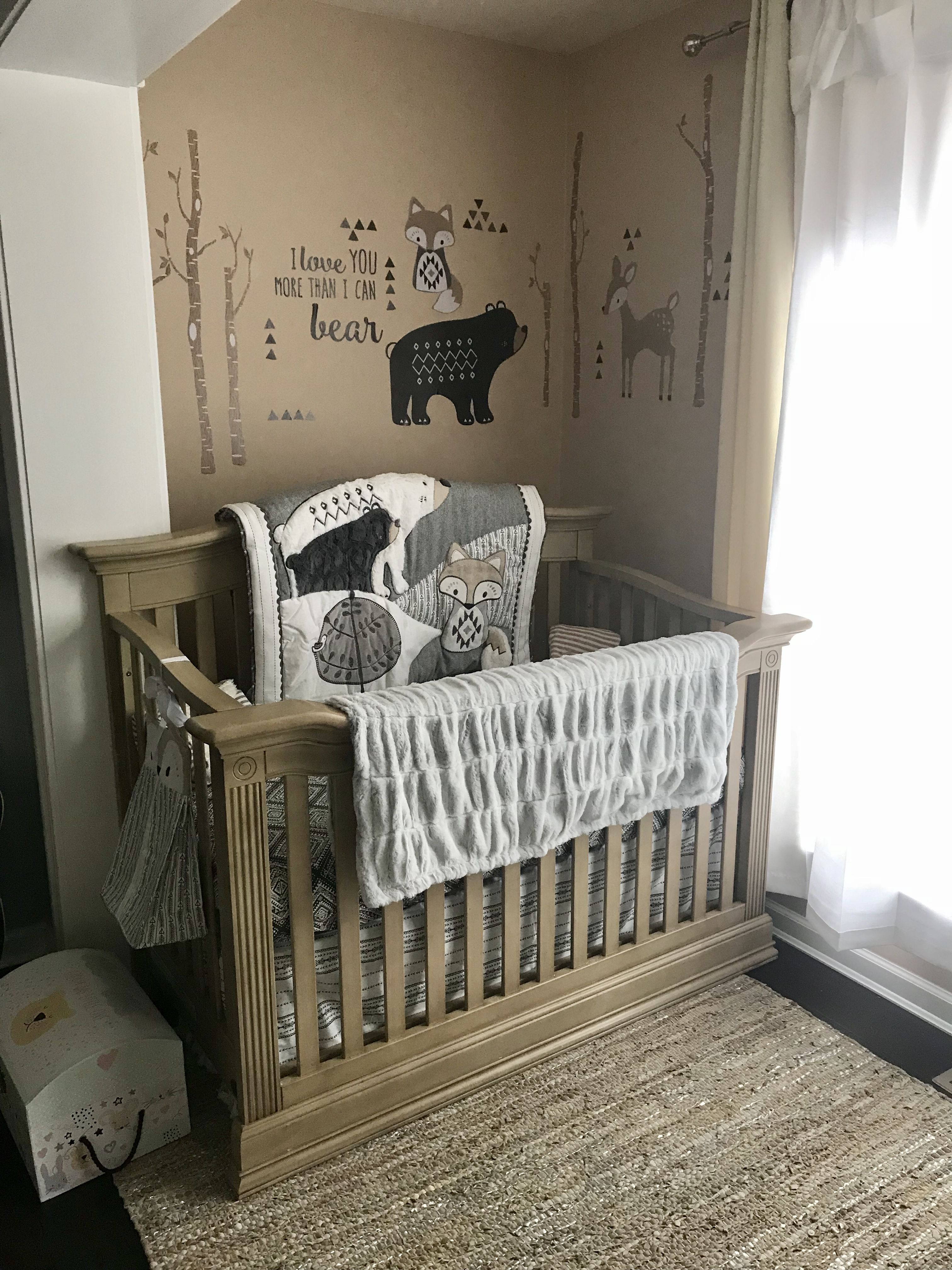Baby Boy Woodland Theme Nursery In Master Bedroom With Images Baby Nursery Design Nursery Room Boy Baby Boy Themes