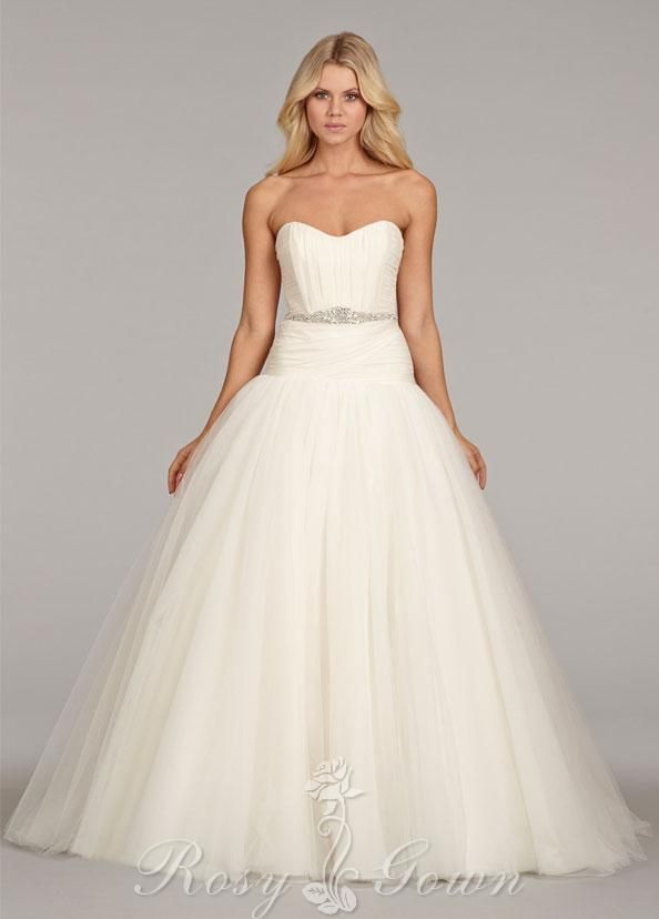 ivory georgette tulle drop waist strapless #sweetheart bridal ball ...