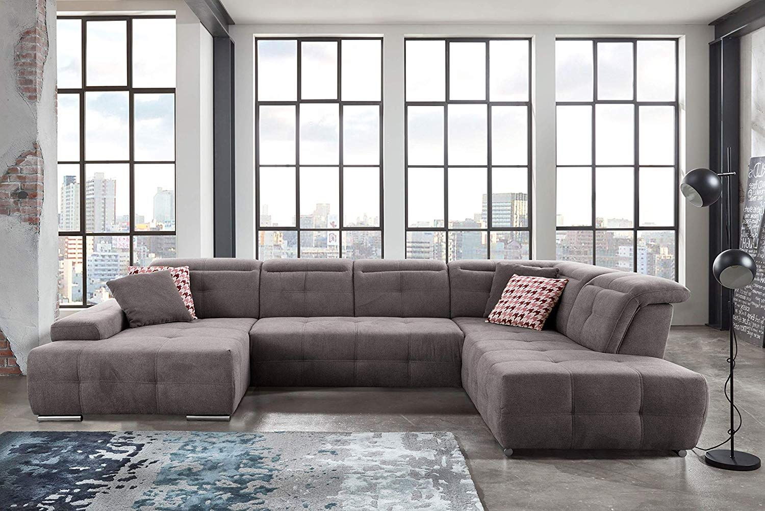 Trendige Couchgarnituren Cavadore #wohnlandschaft #mistrel Mit #ottomanen Rechts / Xxl- #sofa In U-form / Inkl. Kopfteilvers… | Small Sectional Sofa, Sectional Sofa, Fabric Sectional Sofas