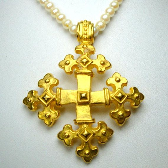 Orthodox Christian Gold Quadrate Cross Pendant on Pearl Choker