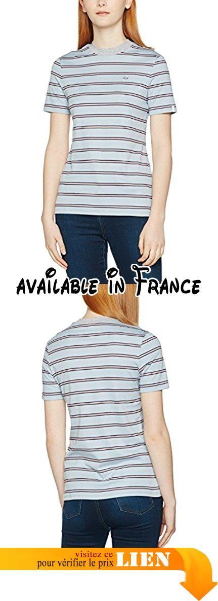 5f95b5a4df7 Lacoste L!VE - T-shirt Femme - Multicolore (Brise Marine -Blanc ...